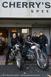 Kaichiroh Kurosu (R) at his Cherry's Company shop with <br /> Harley-Davidson head of design Ray Drea (L), Charlie Wartgow, Ben McGinley and Dais Nagao. Tokyo, Japan. Monday, December 8, 2014. Photograph ©2014 Michael Lichter.