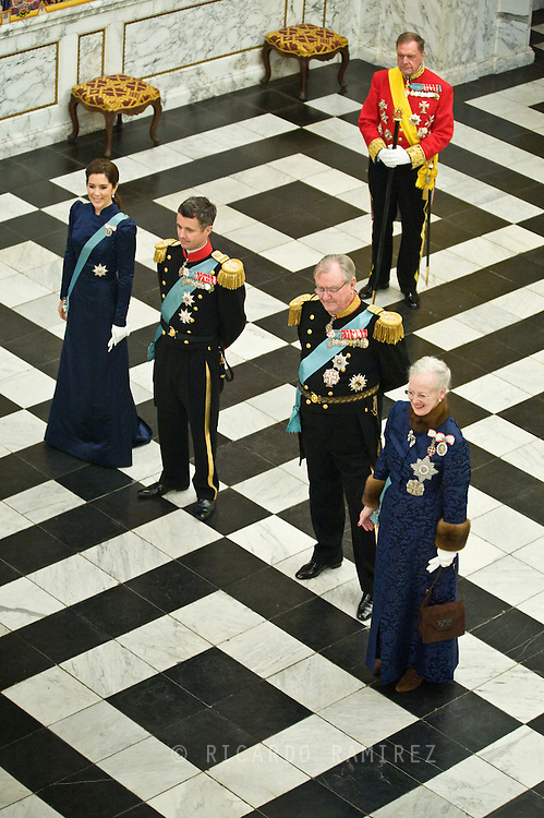03.01.12. Copenhagen, Denmark.Queen Magrethe II, Prince Henrik, Crownprince Frederik and Crowprincess Mary receiving the chiefs of the diplomatic corps in the Rider's Hall during the New Year's Court in Christiansborg Palace.Photo:© Ricardo Ramirez