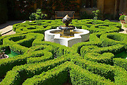An intricate, curvacious box parterre with central Islamic style ceramic-tiled fountain. The feathery green heads of exotic papyrus plants rise from pots at the four corners of the garden.<br /> <br /> Date taken: 21 June 2010.