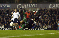 Picture: Henry Browne.<br />Date: 29/10/2003.<br />Tottenham Hotspur v West Ham United Carling Cup 3rd Round.<br />Kasey Keller makes a dramatic save in the first half of extra time