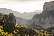 Sunlit tops of gorges du Verdon, France