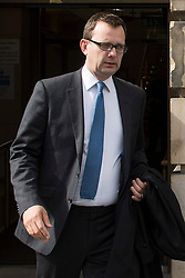 © Licensed to London News Pictures. 25/05/2015. Former News of the World editor Andy Coulson leaving Edinburgh's High Court on 25 May 2015 . Today the trial has heard of his knowledge of hacked voicemail messages that were the source of a story about former Home Secretary David Blunkett having an affair. Mr Coulson is accused of lying under oath in the 2010 perjury trial of former MSP Tommy Sheridan. Photo credit: Max Bryan/LNP