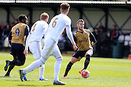 Jack Wilshere of Arsenal (r) in action for the Arsenal u21 team. Barclays U21Premier league match, Swansea city U21's v Arsenal U21's at the Landore training ground in Swansea, South Wales on Thursday 14th April 2016.<br /> pic by Andrew Orchard, Andrew Orchard sports photography.