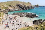 Crowded beach, Kynance Cove, Lizard peninsula, Cornwall, England, UK