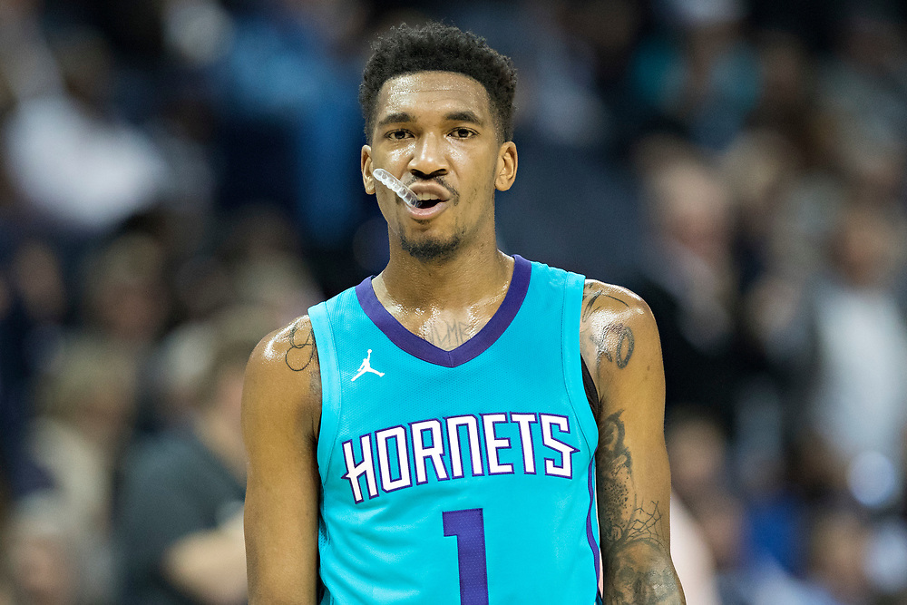 MEMPHIS, TN - OCTOBER 30:  Malik Monk #1 of the Charlotte Hornets chewing on his mouth piece during a game against the Memphis Grizzlies at the FedEx Forum on October 30, 2017 in Memphis, Tennessee.  NOTE TO USER: User expressly acknowledges and agrees that, by downloading and or using this photograph, User is consenting to the terms and conditions of the Getty Images License Agreement.  The Hornets defeated the Grizzlies 104-99.  (Photo by Wesley Hitt/Getty Images) *** Local Caption *** Malik Monk