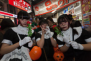 Three young Japanese women dressed in costume during the Halloween celebrations in Shibuya, Tokyo, Japan. Wednesday October 31st 2018 .  Halloween has grown massively popular  in Japan over the last few yers. Primarily an event for young adults who use it as a chance to dress up in inventive costumes and spend the night partying . In recent years the misbehaviour of some revellers has caused a heavier police presence on the street and  a push back from the Japanese society, and media  who see no need for nor benefits to this western cultural import.