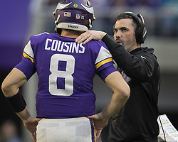December 16, 2018 - Minneapolis, MN, USA - United States - Vikings interim offensive coordinators Kevin Stefanski talked with Kirk Cousins in the forth quarter at U.S. Bank Stadium Sunday December 16, 2018 in Minneapolis, MN.] The Minnesota Vikings beat the Miami Dolphins 41-17 at U.S. Bank Stadium.  Jerry Holt • Jerry.holt@startribune.com (Credit Image: © Jerry Holt/Minneapolis Star Tribune via ZUMA Wire)