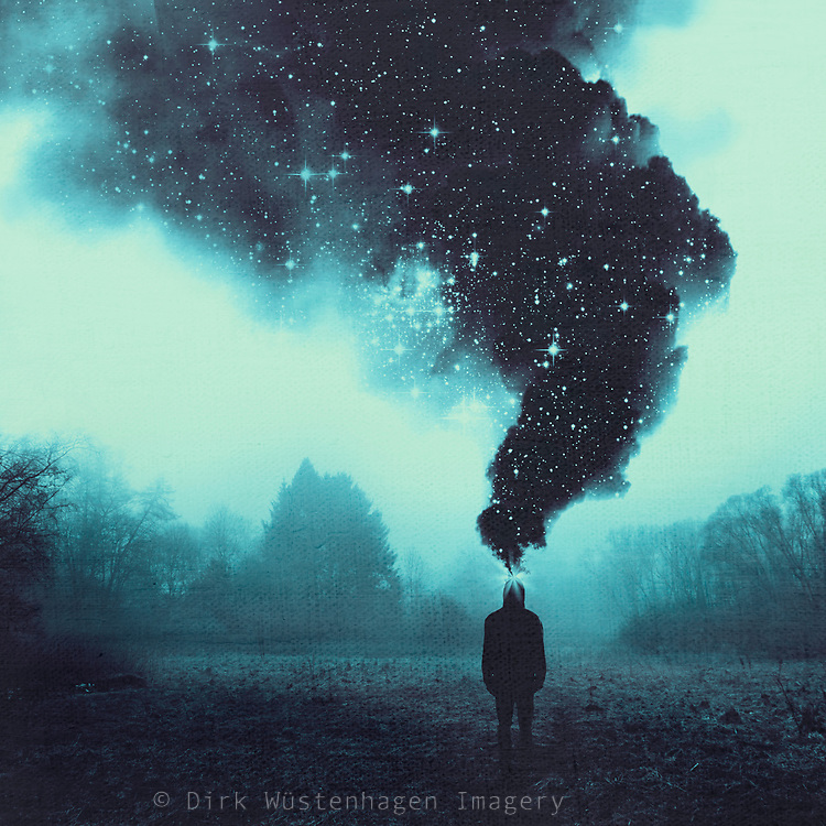 Man on meadow with large smoke plume above his head showing stars and stellar nebulea