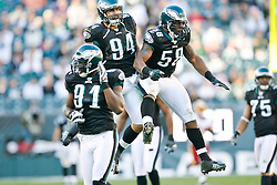 Philadelphia Eagles defensive end Trent Cole #58 reacts after a play during the NFL game between the Washington Redskins and the Philadelphia Eagles on November 29th 2009. The Eagles won 27-24 at Lincoln Financial Field in Philadelphia, Pennsylvania. (Photo By Brian Garfinkel)