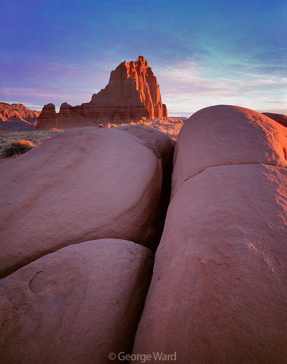 Temple of the Sun at Sunrise, Cathedral Valley, Capitol Reef National Park, Utah