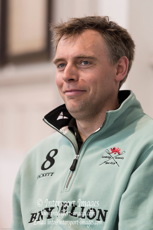 London. UNITED KINGDOM.  160th BNY Mellon Boat Race on the Championship Course, River Thames, Putney/Mortlake.  Friday  04/04/2014    [Mandatory Credit. Intersport Images]<br /> <br /> Cambridge University - Press conference<br /> <br /> Cambridge Chief Coach Steve Trapmore