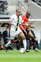 FOOTBALL - FRENCH CHAMPIONSHIP 2009/2010 - L1 - STADE RENNAIS v FC SOCHAUX - 2/05/2010 - PHOTO PASCAL ALLEE / DPPI - MARVIN MARTIN (SOC) / ROD FANNI (REN)