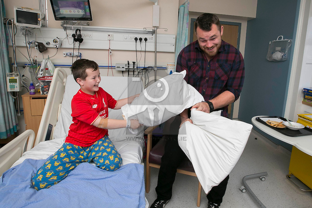 Repro Free:<br /> Ireland and Leinster rugby star Cian Healy is pictured with Nathan Lewin (9) from Monaghan in Temple Street Children's Hospital at the launch of the King Koil Sleeptember Campaign. Encouraging the nation to join the  #BedHeadSelfie initiative in aid of Temple Street Children's Hospital. Picture Andres Poveda