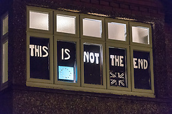 © Licensed to London News Pictures. 09/02/2019. Bristol, UK. Window Wanderland in Bishopston, Bristol. Possible comments on Brexit, in the Bristol council ward of Bishopston where 80% voted to remain in the EU Referendum. Window Wonderland was started in 2015 and aims to bring people together by helping them to put on community events, build relationships, strengthen neighbourhoods, create pride and spread friendship, positivity, happiness and goodwill. Photo credit: Simon Chapman/LNP