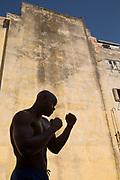 Portrait of young boxer outdoors, Havana, Cuba
