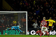 Etienne Capoue of Watford (R) scores his team's third goal. The Emirates FA Cup, 3rd round match, Watford v Bristol City  at Vicarage Road in Watford, London on Saturday 6th January 2018.<br /> pic by Steffan Bowen, Andrew Orchard sports photography.