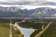 Looking down to the city of Canmore, Alberta, Canada
