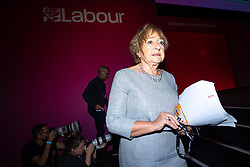 © Licensed to London News Pictures. 26/09/2021. Brighton, UK. MARGARET HODGE steps off the stage after speaking in the conference hall during a debate on new rules designed to counter anti-Semitism within the Labour Party. The second day of the 2021 Labour Party Conference , which is taking place at the Brighton Centre . Photo credit: Joel Goodman/LNP