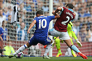 Eden Hazard of Chelsea is challenged by Matthew Lowton of Burnley. Premier league match, Chelsea v Burnley at Stamford Bridge in London on Saturday 27th August 2016.<br /> pic by John Patrick Fletcher, Andrew Orchard sports photography.