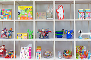 Children's toys souvenirs and Moomin by Tove Jansson characters in shop, Arken Museum of Modern Art Denmark