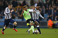 Jordon Ibe of Bournemouth is intercepted by Fred Onyedinma of Millwall (r) .The Emirates FA Cup 3rd round match, Millwall v AFC Bournemouth at The Den in London on Saturday 7th January 2017.<br /> pic by John Patrick Fletcher, Andrew Orchard sports photography.