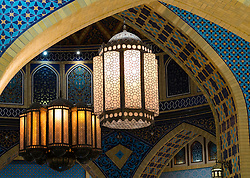 Ornate lamps at Ibn Battuta shopping mall in Dubai United Arab Emirates