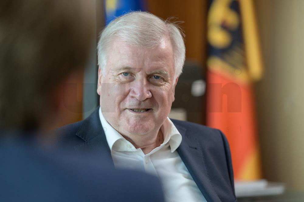 01 JUL 2019, BERLIN/GERMANY:<br /> Horst Seehofer, CSU, Bundesinnenminister, waehrend einem Interview, in seinem Buero, Bundesministerium des Inneren<br /> IMAGE: 20190701-01-028<br /> KEYWORDS: Büro
