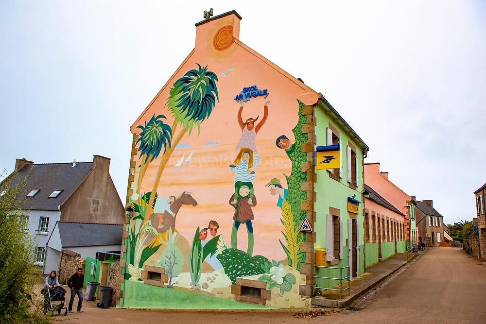 La Poste, - post office on Ile de Batz, Brittany, France. Skol ar Vugale is the children's library.