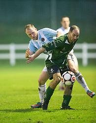 Gala Fairydean Rovers Sean Paliczka and Edinburgh University's George Nikolaidis.<br /> Edinburgh University 2 v 3 Gala Fairydean Rovers, Scottish Sun Lowland League game played 15/11/2014 at Peffermill Playing Fields.