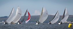 RWYC's Savills Kip Regatta  9-10th May 2015 <br /> Excellent conditions for the opening racing of the Clyde Season<br /> <br /> The Class 2 fleet under full sail reaching from Toward Lighthouse. <br /> <br /> Credit : Marc Turner / PFM