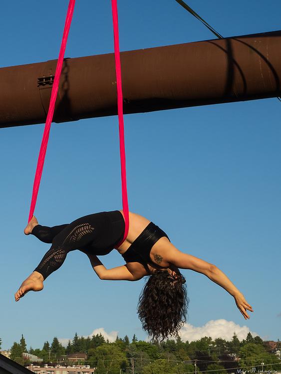 Female aerialist in Gas Works Park, Seattle, WA.