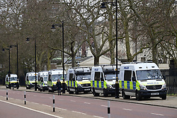 © Licensed to London News Pictures. 20/03/2021. London, UK. A heavy police presence in Westminster before people gather to take part in a Rally for Freedom in central London, to protest against the continued lockdown restrictions imposed to fight the spread of coronavirus. Similar events are taking place at cities around the world. Photo credit: Ben Cawthra/LNP