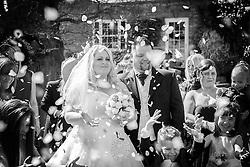 Black and White Photo, Wedding Confetti Celebration