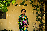 A portrait of Yoko Ishikawa, the owner of Ki-nu, a Japanese fashion and kimono shop in downtown Hoi An, Vietnam. Hoi An in the 16-17th centuries was home to many Japanese, and there seems to be a resurgence of interest by some Japanese in the quaint tourist town.