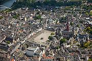Nederland, Limburg, Gemeente Maastricht, 27-05-2013; <br /> Vrijthof met terrassen en muziektent in het historische centrum van Maastricht, rode toren van de Sint Janskerk staat naast de Sint Servaasbasiliek, achter de kerk Onder de Bogen: Sint Servaasklooster, witte gebouw midden beneden Museum aan het Vrijthof, de Maas is linksboven te zien.<br /> Vrijthof with terraces and bandstand in the historic center of Maastricht, red tower of St Jan's Church is next to the Basilica of St. Servaas, river Maas(Meuse) top left.<br /> luchtfoto (toeslag op standaardtarieven);<br /> aerial photo (additional fee required);<br /> copyright foto/photo Siebe Swart.