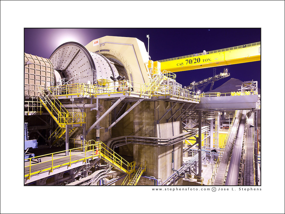 Night view at a mineral crushing mill at the processing plant of the Esperanza Copper Mine in northern Chile.