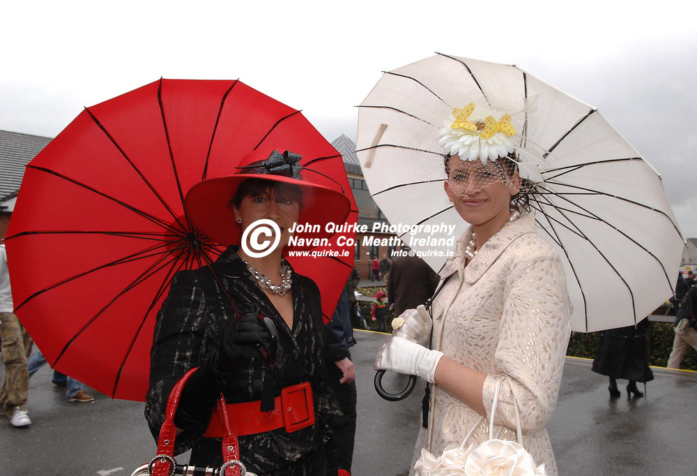 13-04-09. Fairyhouse Races - The Powers Irish Whiskey Irish Grand National.<br /> Veronica Walsh (Left) and Patricia Moore, winner of the most stylish lady competition both from Navan.<br /> Photo: John Quirke / www.quirke.ie<br /> ©John Quirke Photography, Unit 17, Blackcastle Shopping Cte.<br /> Navan. Co. Meath. 046-9079044 / 087-2579454.
