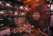 The particle physics collaboration group in the detector pit of the L-3 experiment at CERN's Large Electron-Positron Collider (LEP) ring during its construction in [1988] (Sam Ting bottom left, in trench coat.) The pit now contains detectors that can measure and identify the various electrons, muons and photons that are emitted following collision events. The main part of the detector is the large magnet, contained in a cubic space of 12 meters each side and weighing 7810 tons. The magnet surrounds the particle detectors; the vertex chamber, the electromagnetic calorimeter, the hadron calorimeter and the muon chamber. The LEP ring was inaugurated on 13 November 1989. [1988]