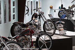 Majik Mike Designs' Mike Rabideau's Bloody Knuckle S&S Knucklehead chopper on display in the What's the Skinny Exhibition (2019 iteration of the Motorcycles as Art annual series) at the Sturgis Buffalo Chip during the Sturgis Black Hills Motorcycle Rally. SD, USA. Friday, August 9, 2019. Photography ©2019 Michael Lichter.