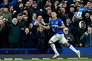 Everton forward Richarlison (30) scores a goal 1-0 and celebrates during the Premier League match between Everton and Chelsea at Goodison Park, Liverpool, England on 17 March 2019.