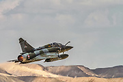 """France Air Force MIRAGE 2000D in flight. Photographed at the  """"Blue-Flag"""" 2017, an international aerial training exercise hosted by the Israeli Air Force in Ouvda airfield, Israel November 2017"""