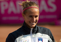 Polona Hercog of Slovenia after the first day of the tennis Fed Cup match between Slovenia and Canada at Bonifika, on April 16, 2011 in Koper, Slovenia.  (Photo by Vid Ponikvar / Sportida)