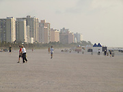 Miami beach early morning with hotels in the background USA