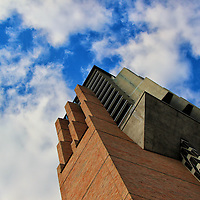 """""""Bell Tower""""<br /> <br /> The bell tower in the University of Michigan's North Campus, contrasted against a beautiful sky!!<br /> <br /> Architecture: structures and buildings by Rachel Cohen"""