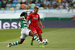 August 15, 2017 - Lisbon, Portugal - Steaua's forward Catalin Golofca (R ) vies with Sporting's forward Gelson Martins from Portugal during the UEFA Champions League play-offs first leg football match between Sporting CP and FC Steaua Bucuresti at the Alvalade stadium in Lisbon, Portugal on August 15, 2017. (Credit Image: © Pedro Fiuza/NurPhoto via ZUMA Press)
