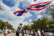 17 FEBRUARY 2014 - BANGKOK, THAILAND: An anti-government protestor waves a Thai flag between the Ministry of Education and Government House on Ratchadamnoen Avenue. The anti-government protest movement, led by the People's Democratic Reform Committee and called Shutdown Bangkok has been going on for more than a month. The protest movement called, the People's Democratic Reform Committee (PDRC), wants to purge the current ruling party and its patrons in the Shinawatra family from Thai politics. The movement has consistently refused any dialogue or negotiations with the Pheu Thai ruling party. Over the weekend Thai police claimed to have taken the protest areas around Government House (the Prime Minister's office) away from protestors but on Monday protestors marched unimpeded to Government House and retook the area.   PHOTO BY JACK KURTZ