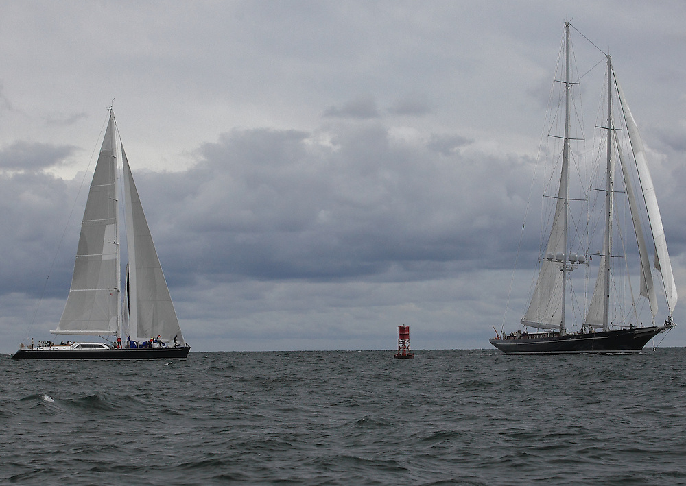 S/Y Clevelander (left) and S/Y Meteor round the final mark at the 2010 Newport Bucket. Super yachts racing in the 2010 Newport Bucket.