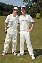 Left to right, ANDY JENNINGS and ED CORRY REID at a cricket match to in aid of CARE - Corfu Animal Rescue Establishment held at Hawkley Cricket Club, Hawkley, Hampshire on 8th September 2012.