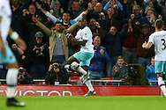 Michail Antonio of West Ham United celebrates after scoring his teams 2nd goal. Premier League match, Liverpool v West Ham Utd at the Anfield stadium in Liverpool, Merseyside on Sunday 11th December 2016.<br /> pic by Chris Stading, Andrew Orchard sports photography.