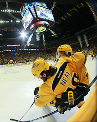 May 2, 2017 - Nashville, TN, USA - The Nashville Predators' Ryan Ellis, right, celebrates with teammate James Neal after Neal scored an unassisted goal in the third period against the St. Louis Blues during Game 4 of the Western Conference semifinals on Tuesday, May 2, 2017, at the Bridgestone Arena in Nashville, Tenn. (Credit Image: © Chris Lee/TNS via ZUMA Wire)